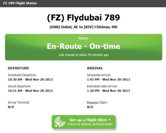 Primul zbor Dubai-Chisinau